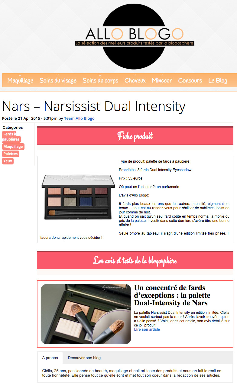 Nars Dual Intensity Narsissist Allo Blogo