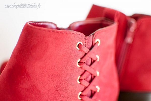 Bottines chaussures suédine rouge