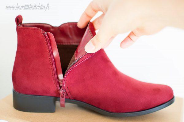 Bottines chaussures bordeaux pour l'automne en toile