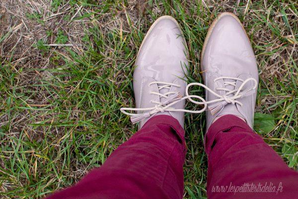 chaussures laquées rose poudré